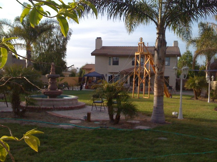 Our back yard with the structure in it.