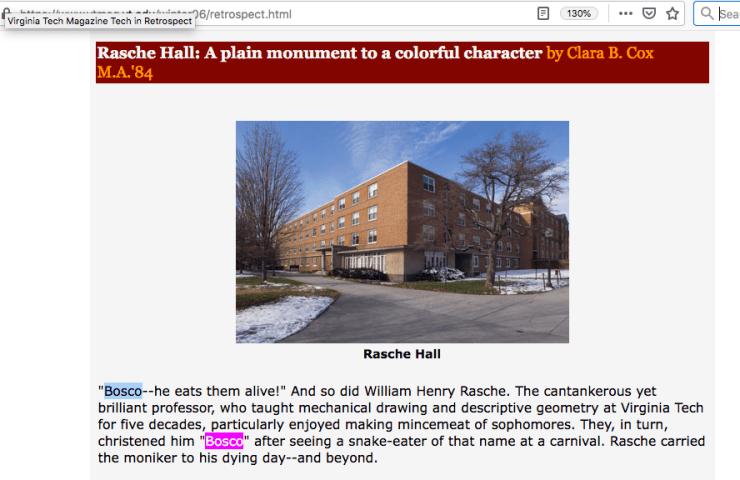 Rasche Hall, Virginia Tech, named after Bosco Rasche.