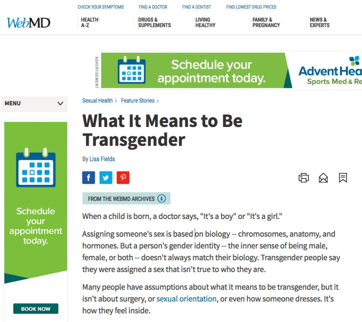 WebMD: Doesn't even seem to know what Transsexualism is.