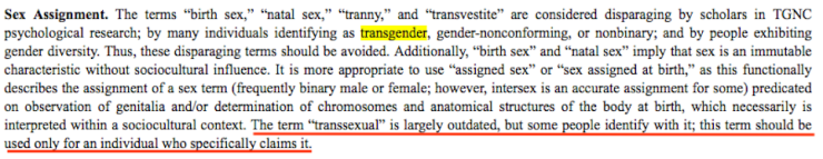 APA style guide 7th Edition disrespecting transsexualism.