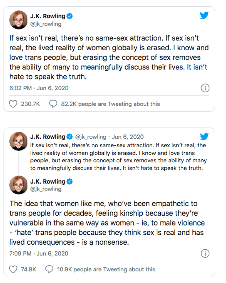 Composite of J.K. Rowling tweets trying to include sexuality for both transgenders and muggles, alike