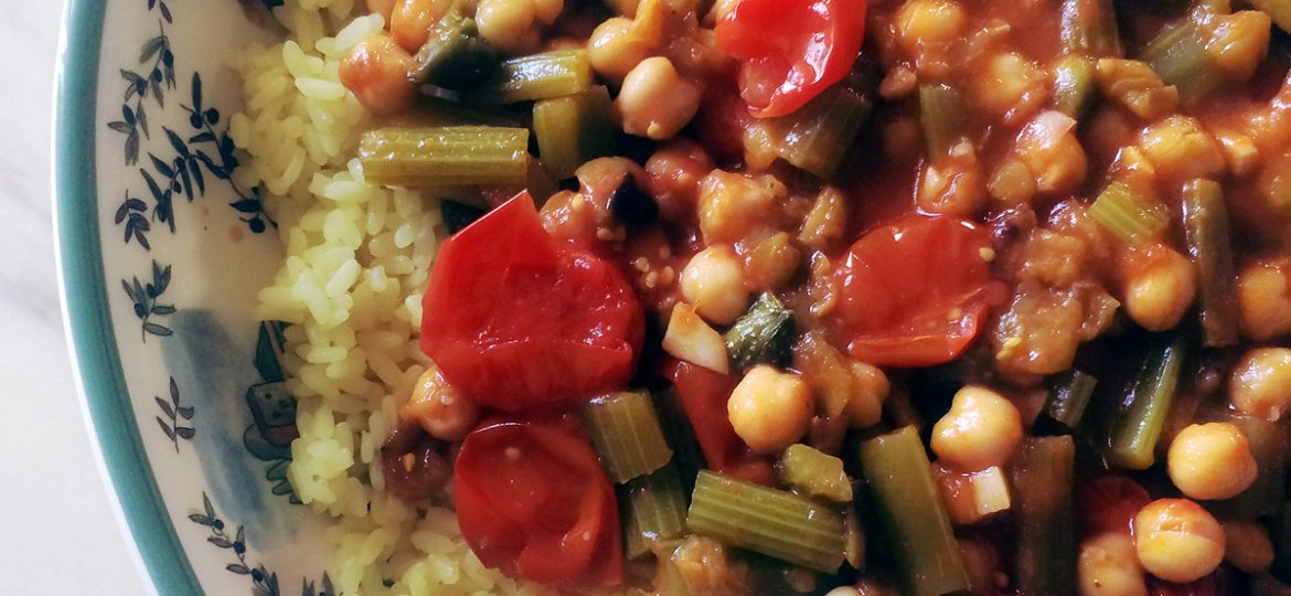 imp post caponata dish with rice