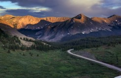Stormy, spring skies create dramatic lighting over Cottonwood Pass