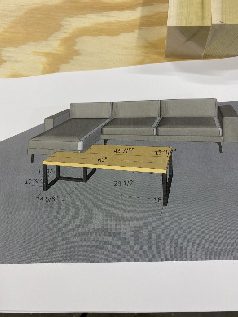 We used Sketchup to get the measurements for our coffee table that we were building.