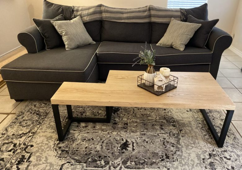 This is our finished ash and poplar coffee table that we built.