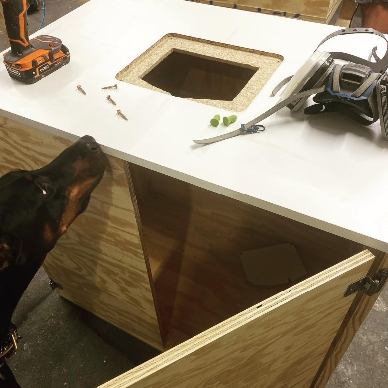 This is the router table we built with the Kreg router lift for our new woodworking shop.