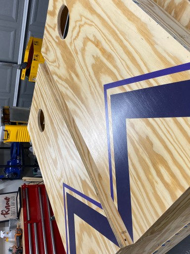 These are custom corn hole boards that we made from pine plywood and 2x4s. These will be Christmas presents for our friends and family.