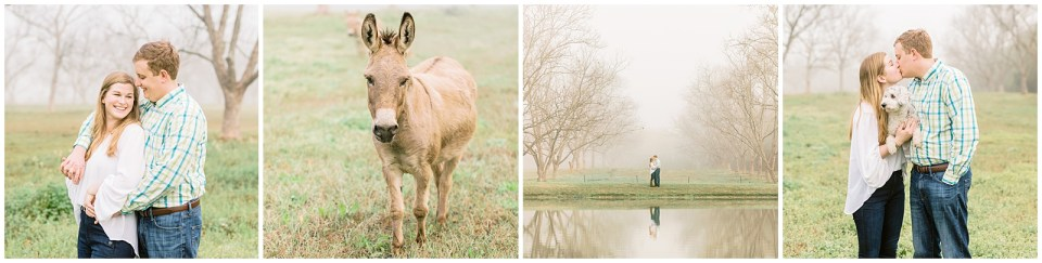 Mobile Alabama Photographer Engagement Session with gogs, goats, and fog