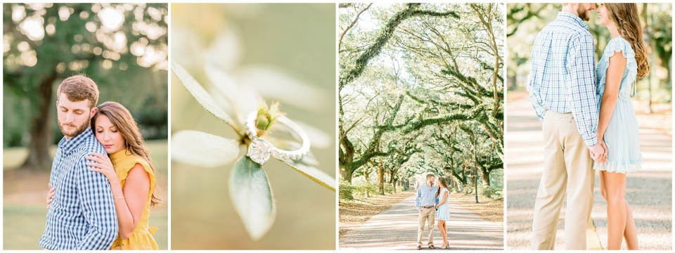 springhill college engagement session. engagement ring. goldendoodle in photos.