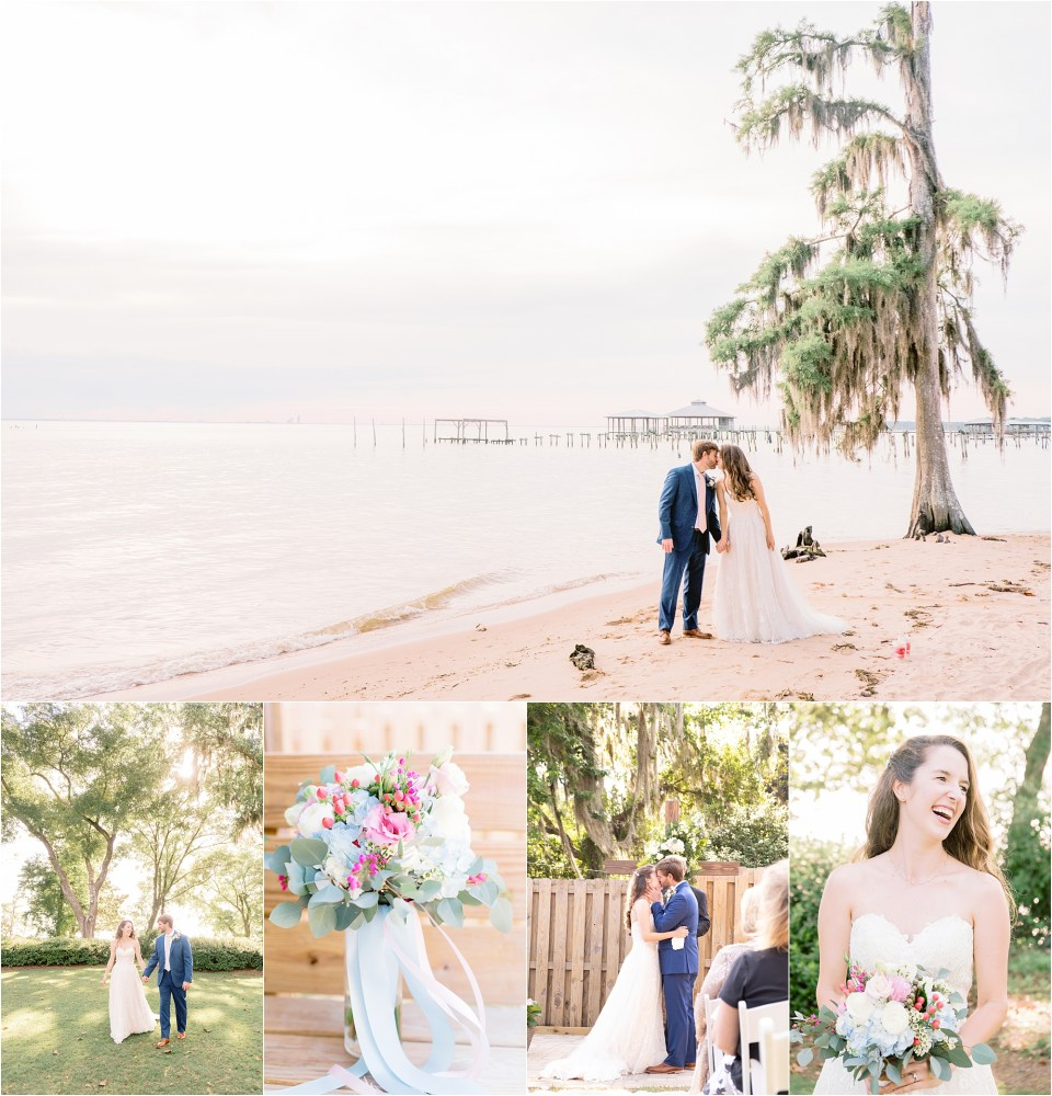 Wedding photos on the bay in Fairhope, Alabama