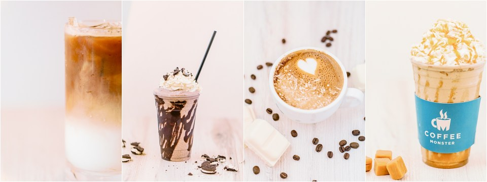 coffee monster brand photos. Iced coffee and hot coffee