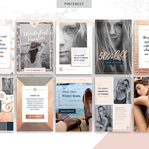 Canva social media templates in rose gold: perfecgt for feminine chic bloggers.