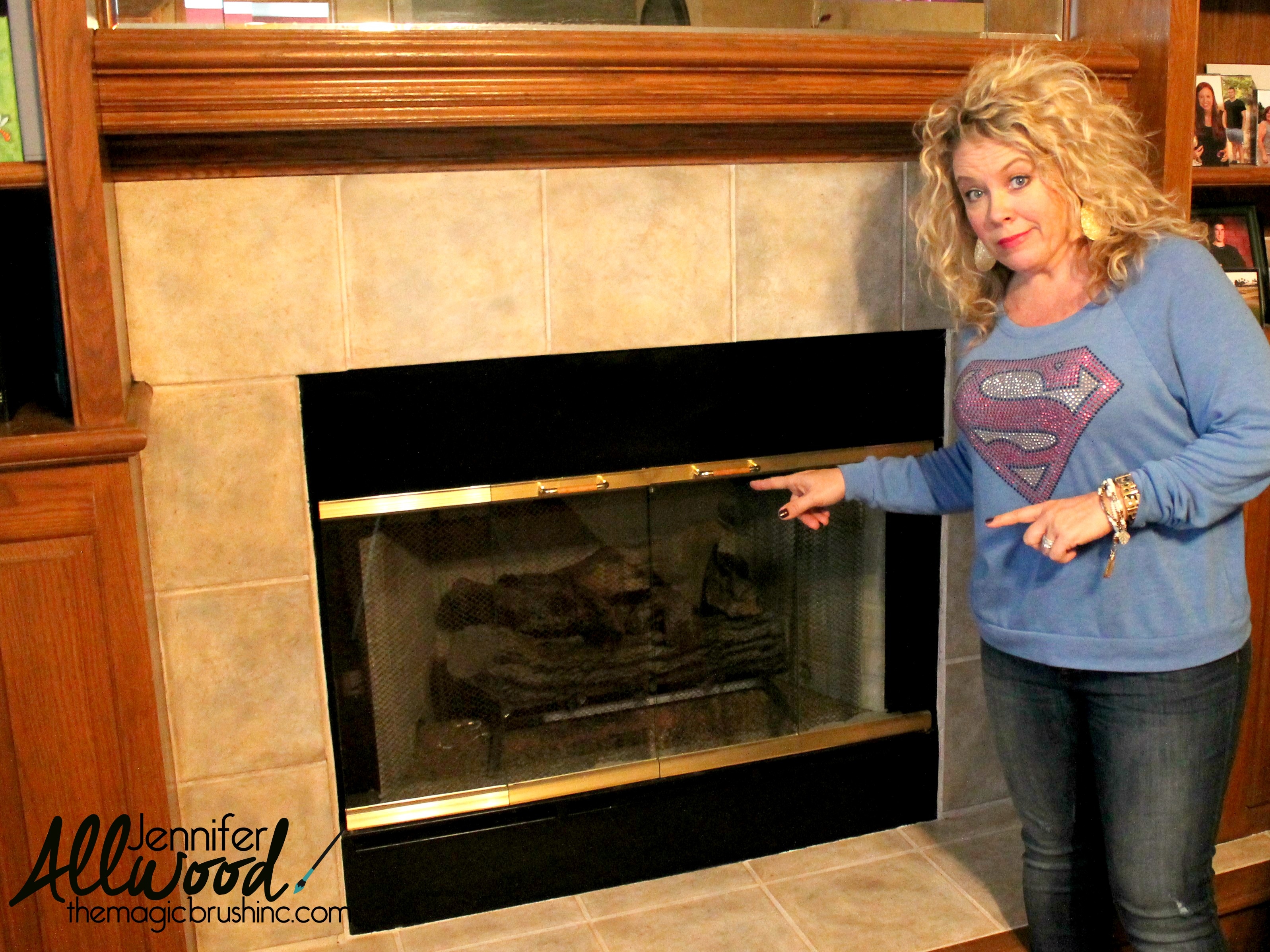 fireplace brass trim can be painted to
