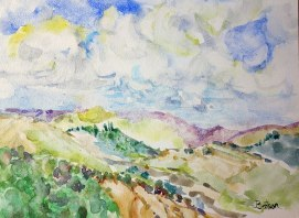 Italy's-Tiber-Valley,-by-Jennifer-Bentson,-Watercolor-on-Board,-14'-x-11'