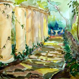 Mystic-Garden,-by-Jennifer-Bentson,-Watercolor,-12'-x16'