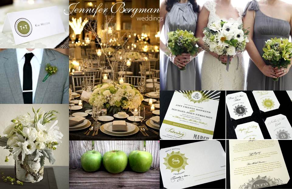 Grey and Green Wedding Inspiration Board  Jennifer Bergman Weddings