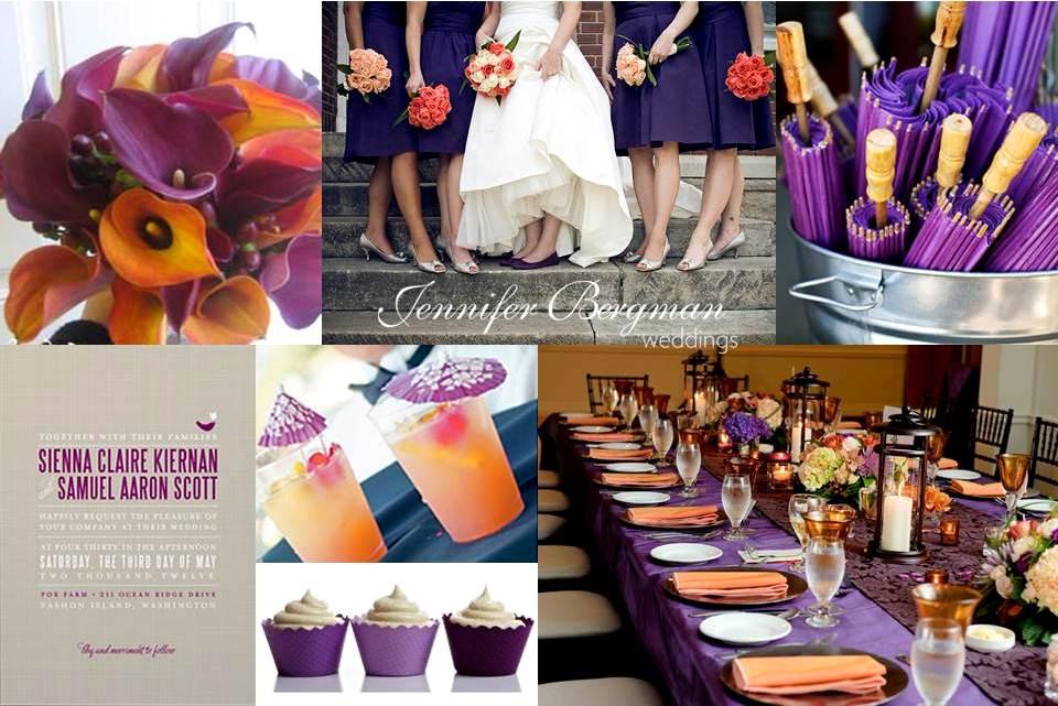 Purple And Orange Wedding Inspiration Board