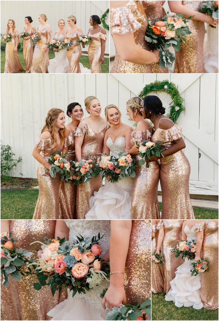 Aubrey Wedding Photographer, Morgan Creek Barn, The Milestone, Walters Weddings, Elegant Wedding, Dallas Weddings, DFW Weddings, Flower Mound Weddings, Elegant Bride, Bridal Portraits, Wedding Photographer, Dallas Wedding Photographer, Bridesmaids, Bridal Party, Large wedding, rose gold bridesmaid dress