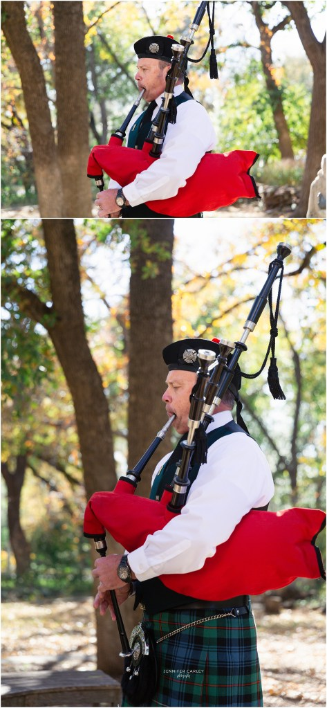Scottish wedding, Denton Tx, Denton Texas fall wedding, bagpipe player, Scottish bagpipes at wedding, wedding bagpipes, Scottish Wedding in Texas