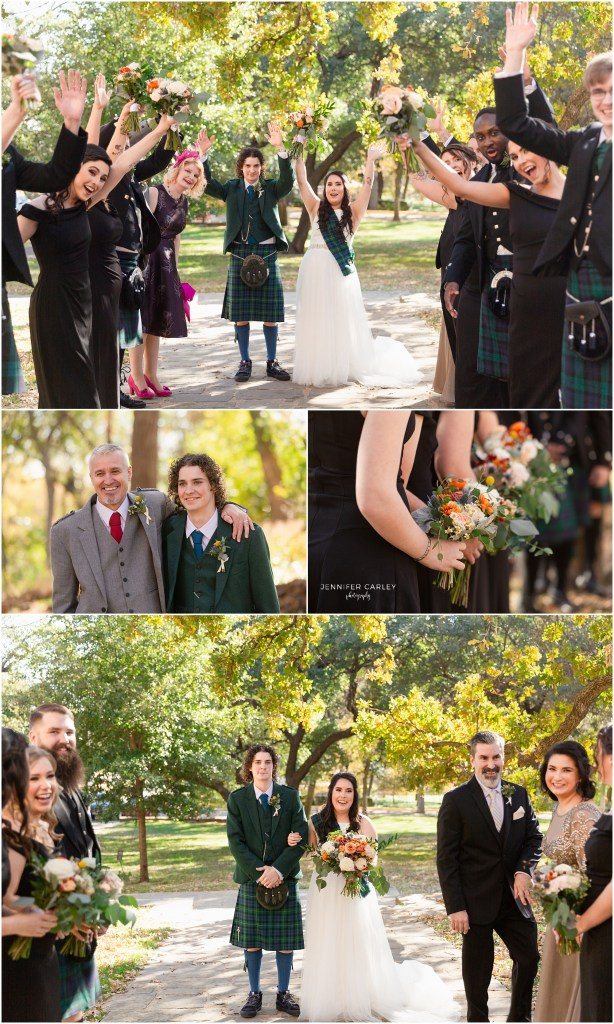 Bridal Party, Denton Weddings, Denton Wedding Photographer, Scottish wedding, Wedding kilts, Scottish wedding in Denton, Little Chapel in the Woods, Flower Mound Wedding Photographer, DFW wedding photographer, denton fall wedding