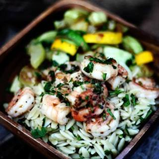 Lemony Grilled Shrimp Scampi with Orzo Pasta