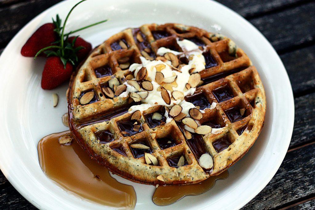 almond poppy seed waffles