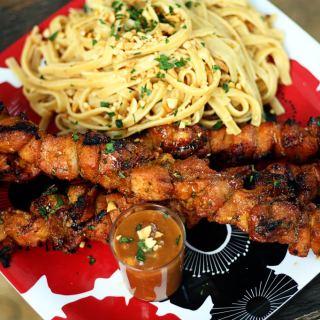 Thai Chicken Satay, Peanut Sesame Noodles and Peanut Sauce