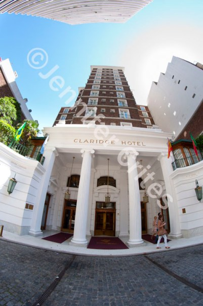 """Although the rooms need upgrading, the front entrance of our """"older"""" hotel in Buenos Aires maintains its elegance."""