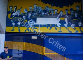 Futbol (soccer) art on the stadium wall
