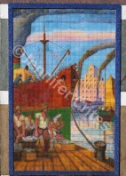 Outside wall art recreates La Boca's shipbuilding origins
