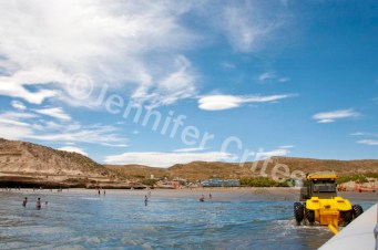 A yellow tractor hauls our boat to the beach after the tour