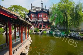Yu Gardens bridge, pavilion and lake.
