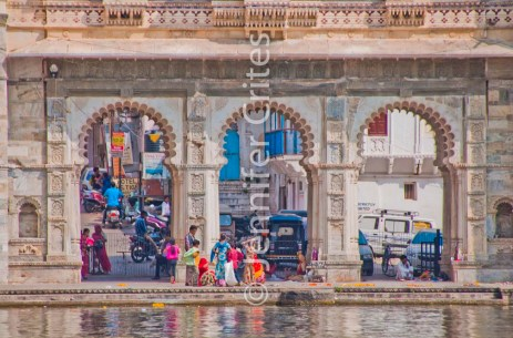 activity at a ghat (steps), Lake Pichola, Udaipur, India
