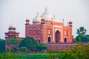 Red sandstone entry building at the Taj Mahal