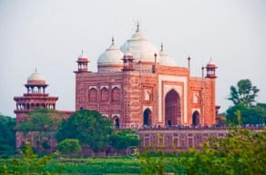 Red sandstone entry building at the Taj Mahal