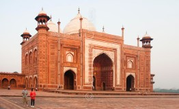 Red sandstone outer building at the Taj Mahal