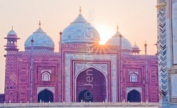 Sunrise at one of the Taj Mahal's outer buildings