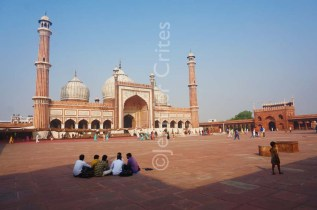 Jama Masjid mosque courtyard in Old Delhi, a forerunner of the Taj Mahal, also built by Shah Jahan