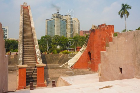 Steps leading to the top of a giant sundial, New Delhi Jantar Mantar