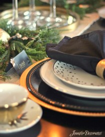 Christmas table setting idea from Jennifer Decorates.com