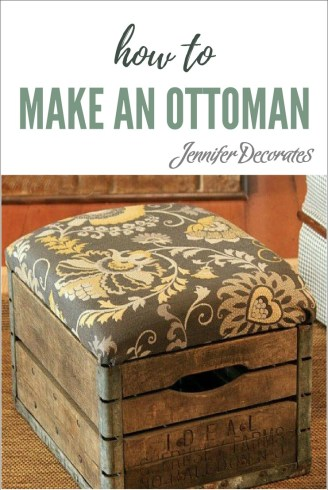 how to make an ottoman using a vintage milk crate. Black Bedroom Furniture Sets. Home Design Ideas