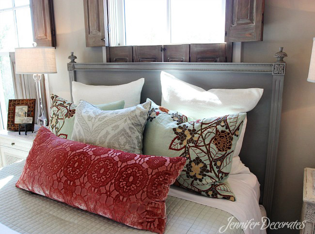 Beautiful bedroom decorating ideas from JenniferDecorates.com