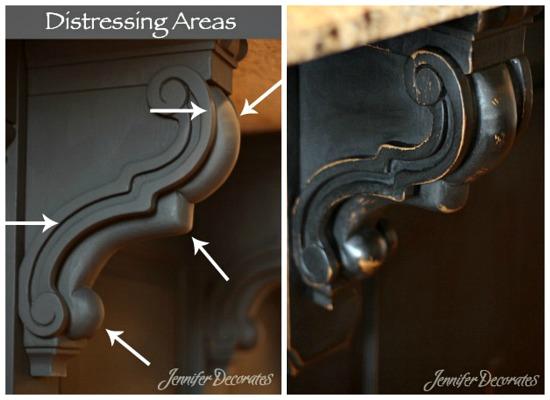 How to distress painted furniture the right way from http://www.jenniferdecorates.com