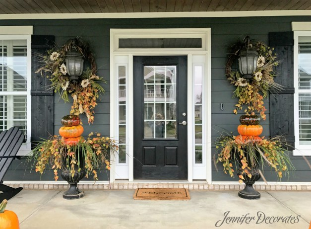 Fall Porch Decorating Ideas from JenniferDecorates.com