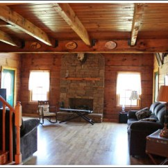 Brown Leather Couch Living Room Decor Turquoise Rug Log Cabin - Before And After Photos