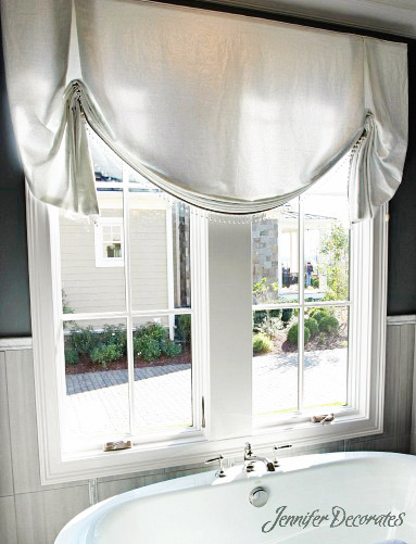 window valance ideas love the simple color stripe down middle the balloon valance is drawn up casually and two pleats are added to top love it window ideas valance ideas jennifer decorates