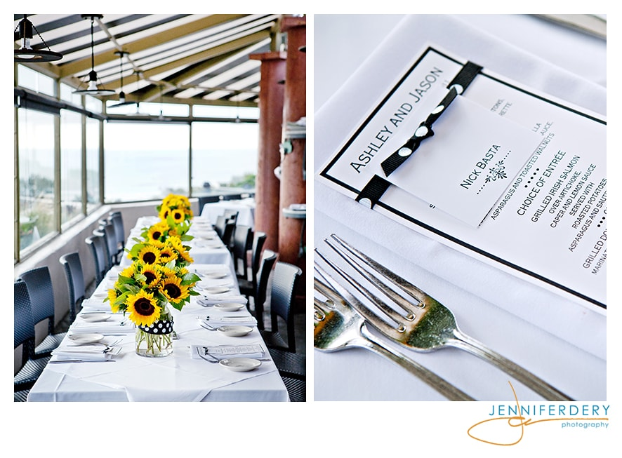 Sunflowers and Polka Dots for a playful Rehearsal Dinner