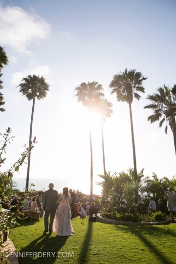 photo of wedding ceremony on lawn at la jolla farms estate