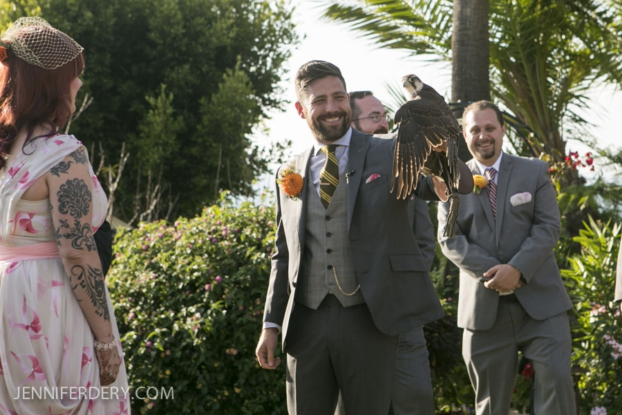 photo of wedding ceremony with falcon ring bearer