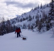 backcountry skiing breaking trail